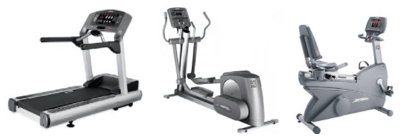 Life fitness gym equipment package with 95ti, 95xi, 95ri reumbent bike